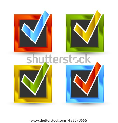 square shiny colored check marks with black background and shadow - stock photo