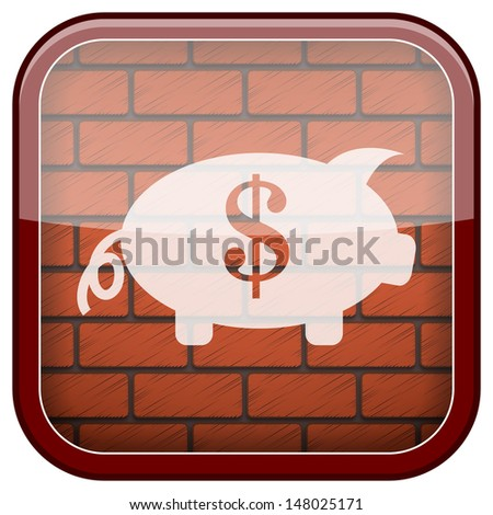 Square shiny icon with white design on bricks wall background