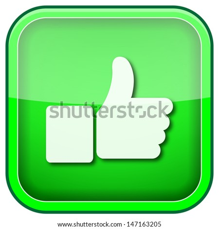Square shiny icon with white design on green background - stock photo
