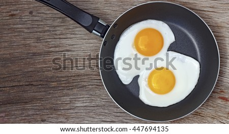 Square shot. Fried egg in a frying pan on a wooden background.