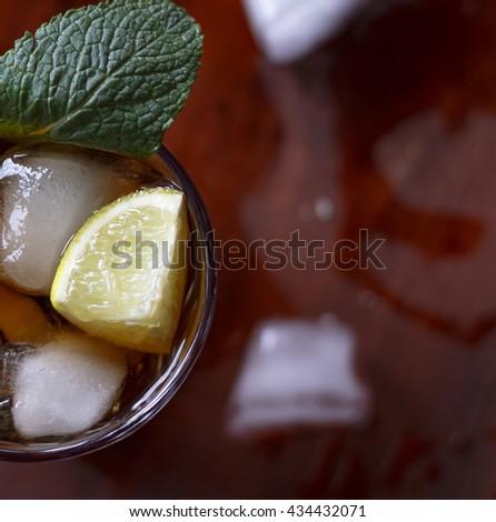 Square shot. Rum cocktail - stock photo