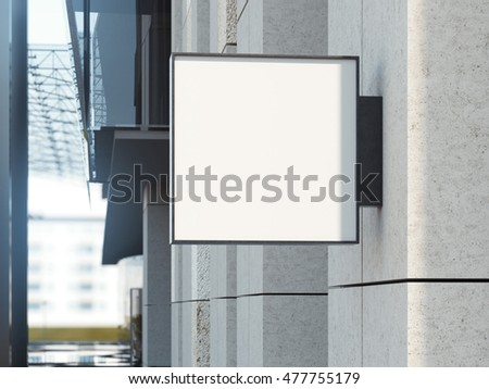 Square signboard on a bright office building. 3d rendering