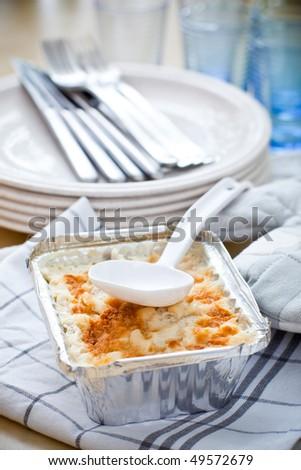 Square silver foil tray - stock photo