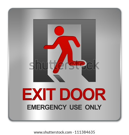 Square Silver Metallic Plate For Exit Door Emergency Use Only Sign Isolate on White Background - stock photo