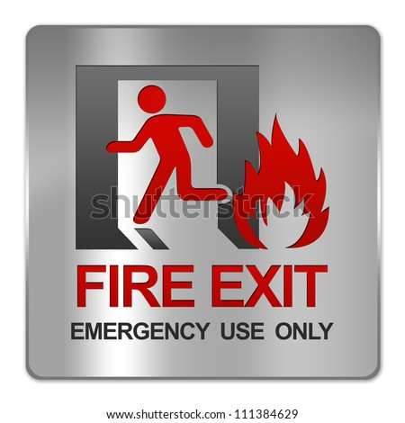 Square Silver Metallic Plate For Fire Exit Emergency Use Only Sign Isolate on White Background - stock photo