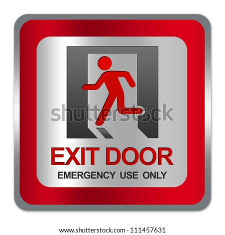 Square Silver Metallic With Red Border Plate For Exit Door Emergency Use Only Sign Isolate on White Background - stock photo