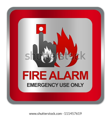 Square Silver Metallic With Red Border Plate For Fire Alarm Emergency Use Only Sign Isolate on White Background - stock photo