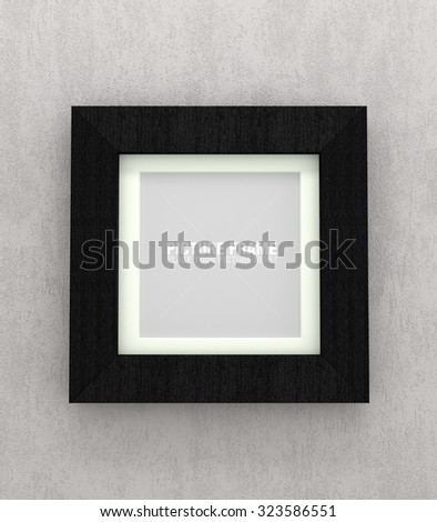 Square size of black wooden picture frames on grey concrete wall - stock photo