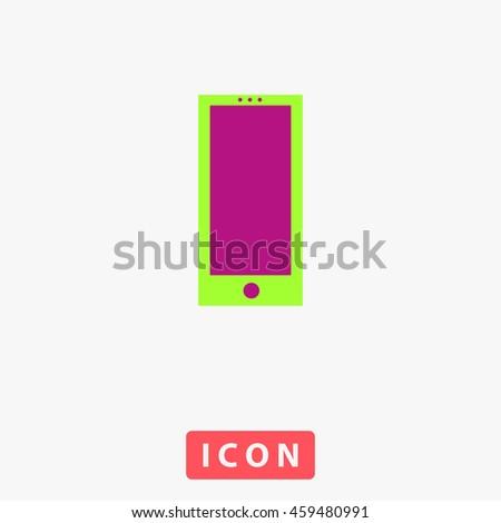 Square smartphone. White circle button on black background - stock photo