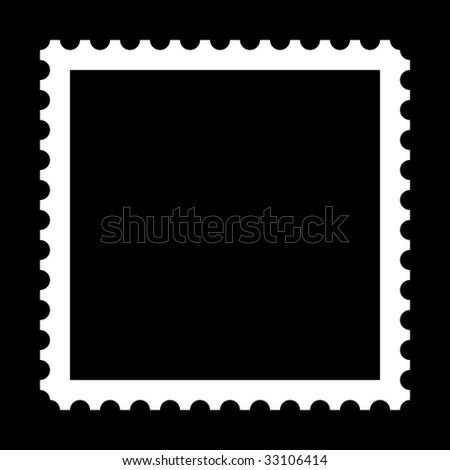 Square stamp with copy space on black background - stock photo