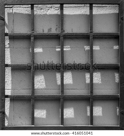 Square steel frame with shadows - stock photo
