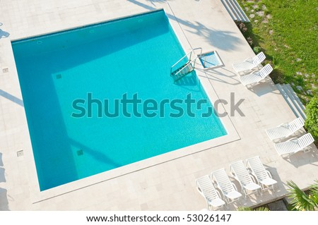 Square swimming pool. High angle view - stock photo