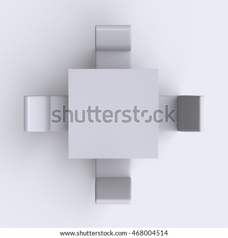 square table top view. Square Table With Chairs On White Empty Floor Background. Top View. 3d Render. View H