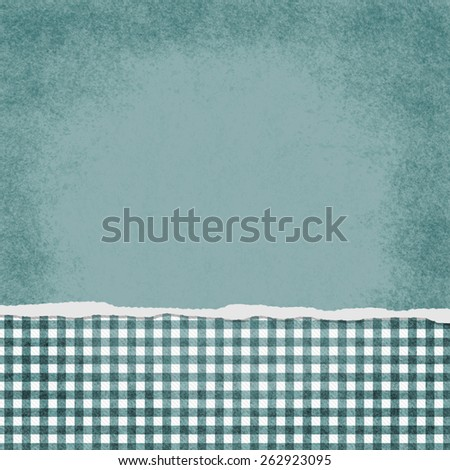Square Teal and White Gingham Torn Grunge Textured Background with copy space at top - stock photo