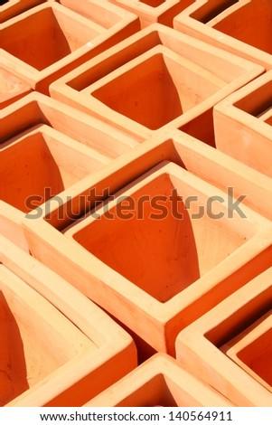 Square Terra Cotta Pots - stock photo