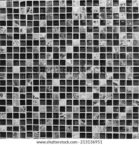 square tile ornamental wall and floor in bathroom - stock photo