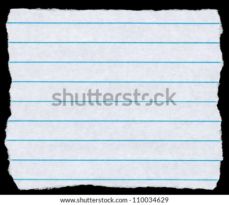 Square torn piece of white lined paper isolated on black. - stock photo
