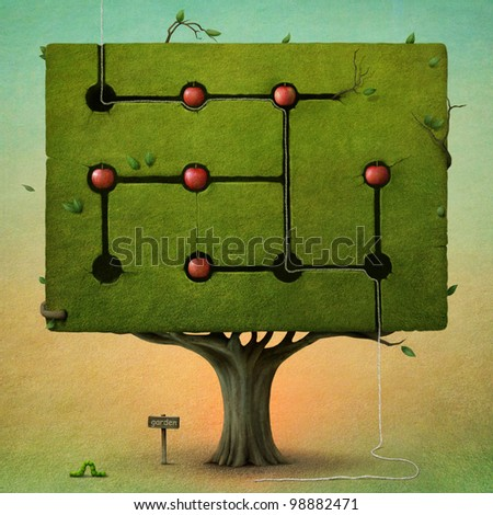 Square tree with apples. - stock photo