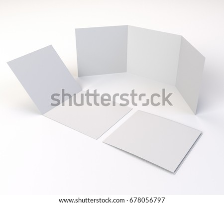 Square Trileaf Brochure Mockup Template 3 D Stock Illustration