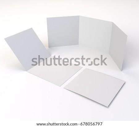 Square Trileaf Brochure Mockup Template 3d Stock Illustration