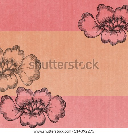 square tropical floral wedding or party invitation background in pink and peach - stock photo
