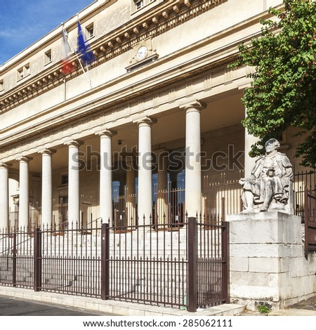 Square view of court of appeal in Aix en Provence with statues, France - stock photo