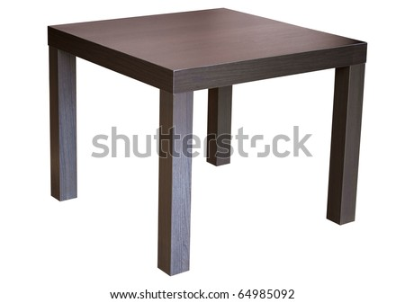 Square wenge wood table isolated on white - stock photo