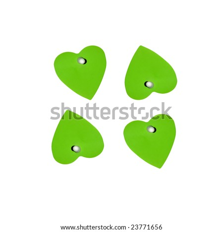 square white background with 4 green heart notes