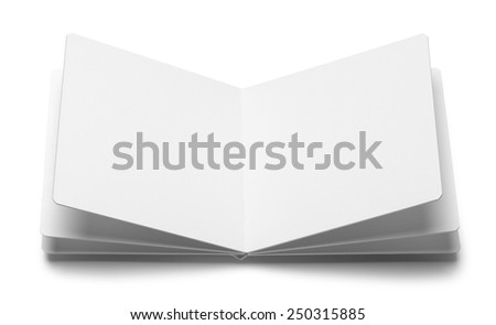 Square White Open Board Book With Copy Space Isolated on White Background. - stock photo