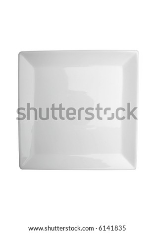 Square white plate isolated on white with clipping path