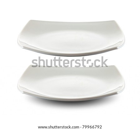 square white plate isolated with clipping path included - stock photo