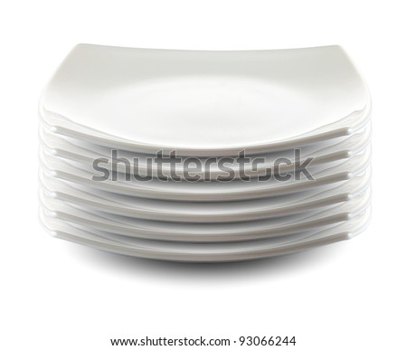 square white plates stack isolated - stock photo