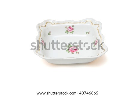 Square white porcelain dish with roses isolated on white background