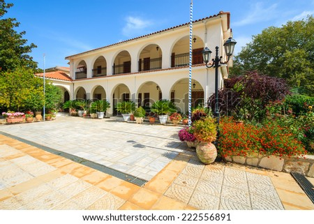 Square with building of old monastery Agios Gerasimos on Kefalonia island, Greece  - stock photo