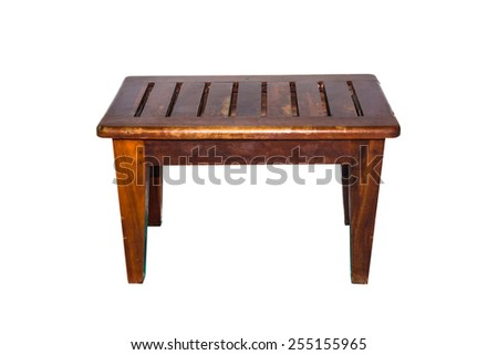 Square wood table isolated on white background - stock photo