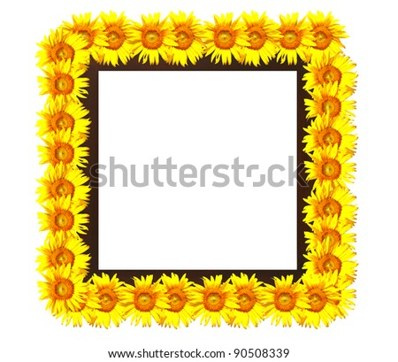 square wooden photo frame decorated with sunflowers - stock photo