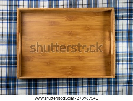 square Wooden tray on table top view  - stock photo