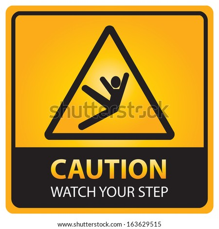 Square yellow and black caution with watch your step text and sign isolated.JPG - stock photo