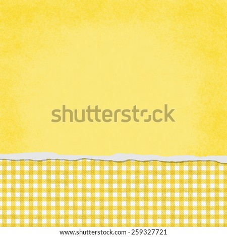 Square Yellow and White Gingham Torn Grunge Textured Background with copy space at top - stock photo