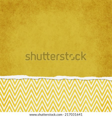 Square Yellow and White Zigzag Chevron Torn Grunge Textured Background with copy space at top - stock photo