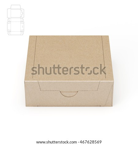 Square Zipper Box with Blueprint 3D Rendering