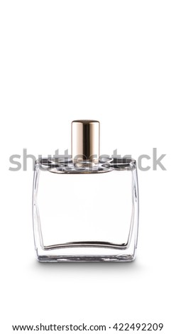 Squared bottle of perfume with golden cap, on white. Clipping paths