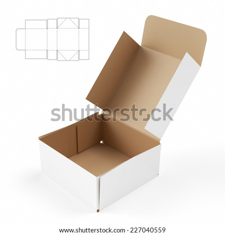 Squared Box with Lid and Die Cut Template - stock photo