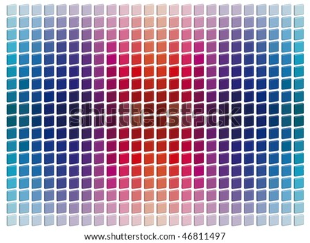 Squared colored tridimensional mosaic tiles - stock photo