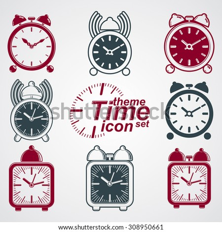 Squared 3d alarm clocks with clock bell, decorative wake up conceptual icons collection. Graphic design elements, get up theme.