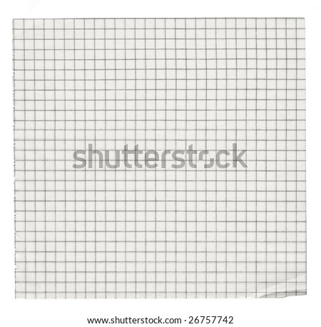 squared paper isolated on white background - stock photo