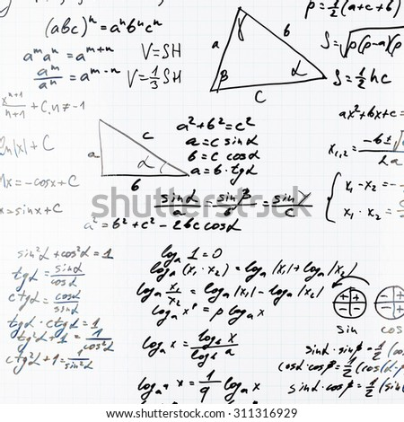Squared sheet of paper filled with trigonometry math equations and formulas as a background composition - stock photo