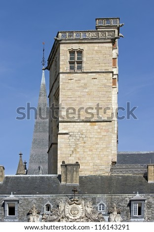 Squared tower,the tour carr�© of Philip the Good   1460 , palace of the dukes, Dijon France