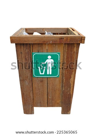Squared wood bin isolated on white background - stock photo