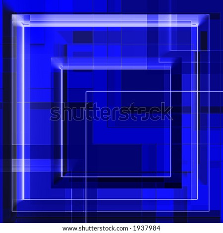 Squares geometry in blue - abstract - stock photo